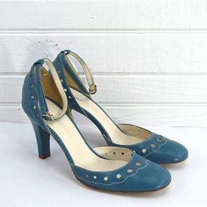 MARC JACOBS CALF BLUE ANKLE STAP PUMP #187-13